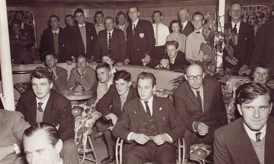 Members Of The Galway Football And Tipperary Hurling Teams Relax On Their Ship To New York In 1957