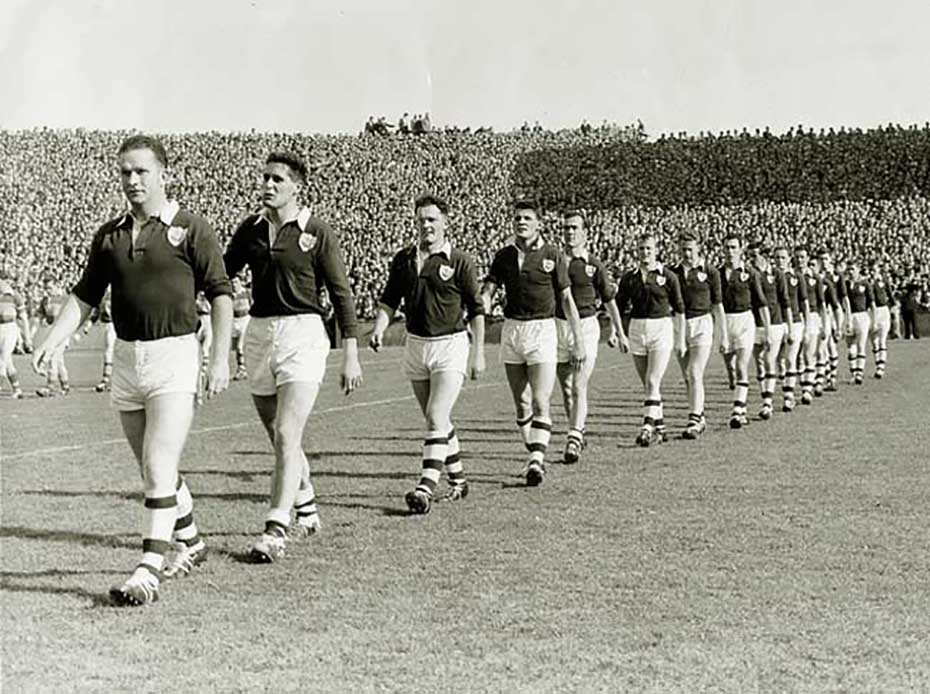 Led By Sean Purcell The Galway Team Parade Before 1958 All Ireland Football Final
